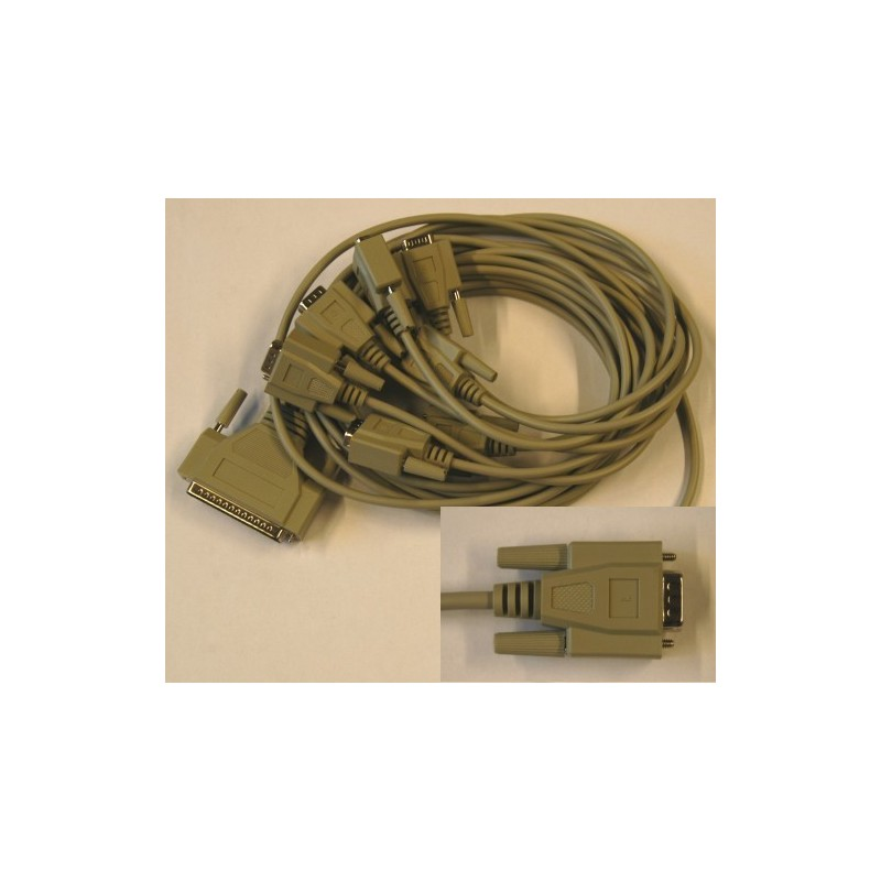 Cable eight times DSub9 male connector with fixing screws (cable type)